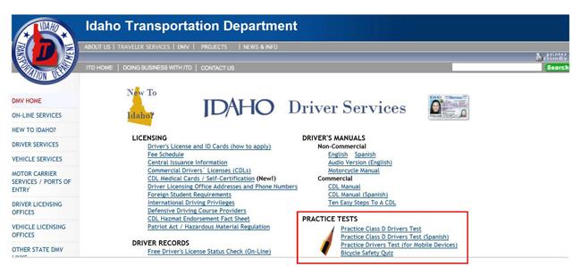 idaho drivers license test spanish