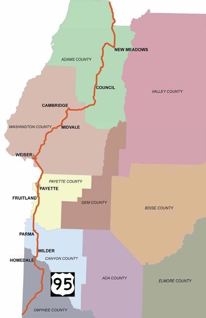 Hwy 95 Idaho Map.District 3 Idaho Transportation Department